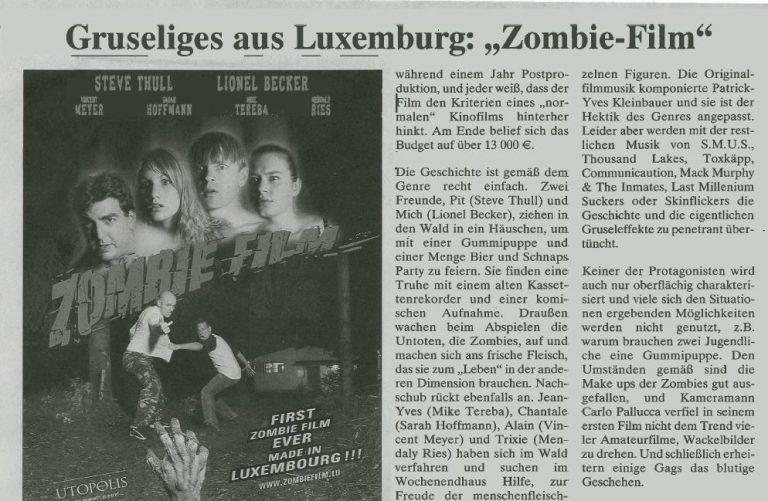 Filmkritik : De Christian Spielmann (Journal) wor sech den Zombie Film ukucken