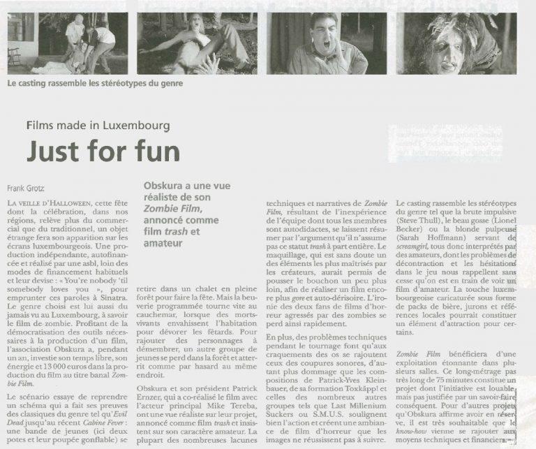 Filmkritik : De Frank Grotz (d'Land) wor sech den Zombie Film ukucken