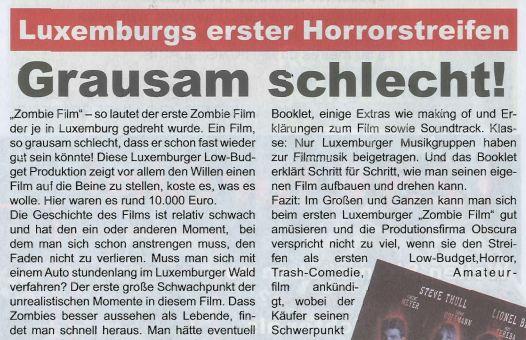 Filmkritik : Lëtzebuerg Privat huet sech den Zombie Film DVD ugekuckt