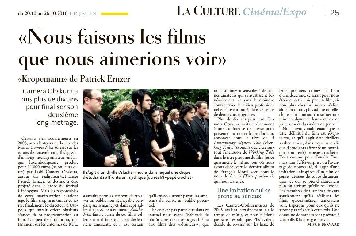 Filmkritik : De Misch Bervard (Le Jeudi) wor sech de Kropemann ukucken
