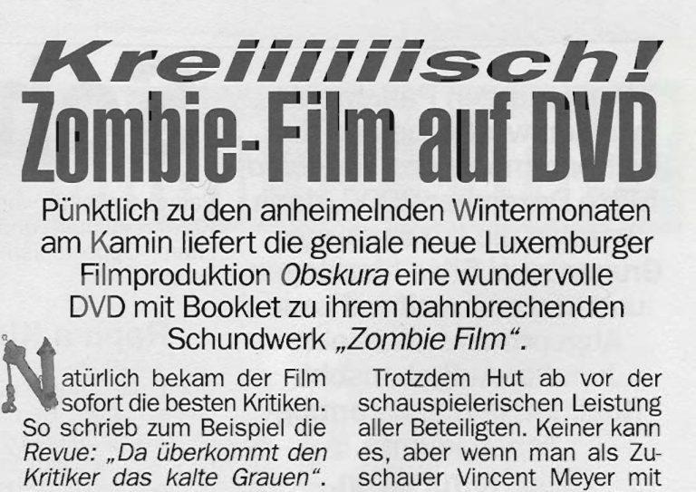 Filmkritik : De Feierkrop huet sech den Zombie Film DVD gekropt